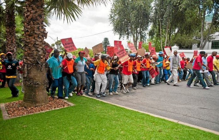 NUM members marching on the Northam Platinum offices in Johannesburg.
