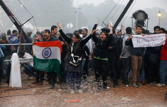 Police used water canons to disperse demonstrators during a protest