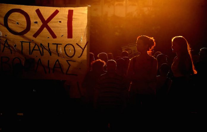 Greeks protest against austerity in Athens last month. South Africa is not in serious financial trouble