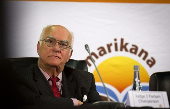 Judge Ian Farlam during a sitting of the Marikana commission of inquiry.