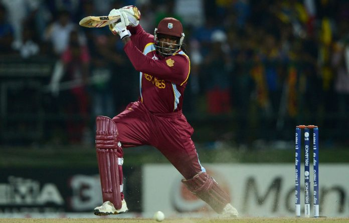 Chris Gayle of West Indies bats during the ICC World Twenty20 Super Eights match between the West Indies and New Zealand.
