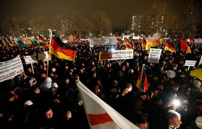 A group called the Patriotic Europeans Against the Islamisation of the West is protesting against the increased immigration of Muslims to Germany.