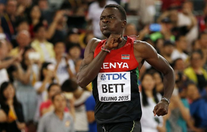 Nicholas Bett of Kenya competes as he goes on to win the men's 400 metres hurdles final during the 15th IAAF World Championships at the National Stadium in Beijing