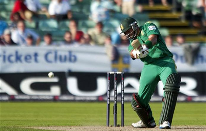 South Africa's JP Duminy hits the winning runs during their International T20 match at the Emirates Durham International Cricket ground