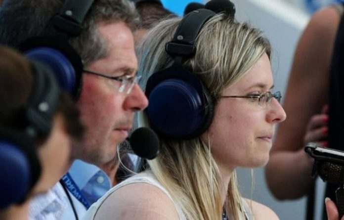 Vicki Sparks commentating during the Morocco and Portugal game.