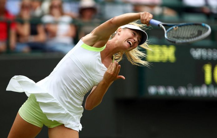 Maria Sharapova of Russia serves during her Ladies' singles second round match against Tsvetana Pironkova of Bulgaria.
