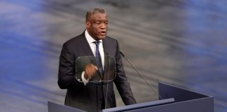 Mukwege delivers his speech during the Nobel Peace Prize Ceremony in Oslo Town Hall