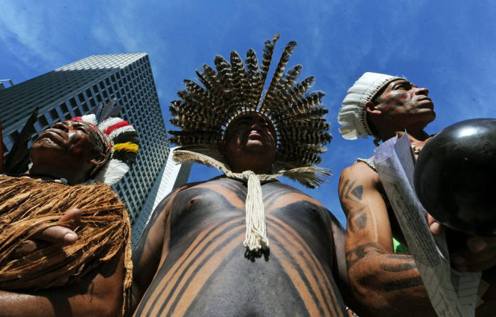 Brazilian natives in downtown Rio de Janeiro protest against the Brazilian Development Bank in the sidelines of the Rio+20 conference.