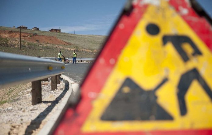 Work taking place on the road leading to President Jacob Zuma's compound in KwaZulu-Natal.