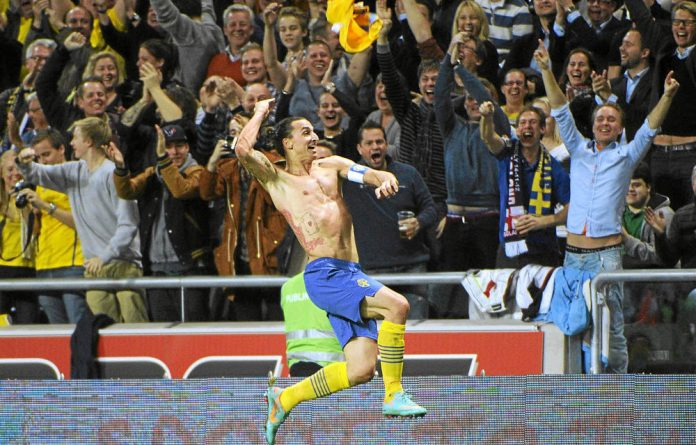 Zlatan Ibrahimovic celebrates his wonder goal against England.