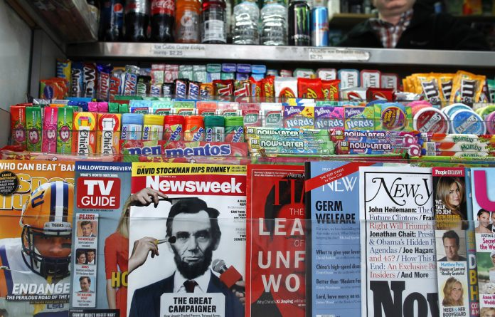 A copy of Newsweek magazine sits on a newsstand in New York