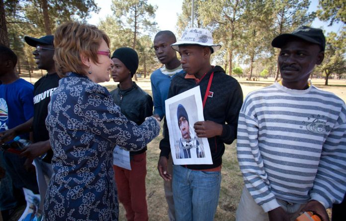 Helen Zille meets with unemployed youth after a protest at the Union Buildings in Pretoria.