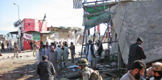 In the latest bomb blast in Pakistan six shops were gutted and several damaged in the blast
