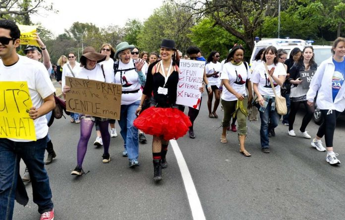 Protestors during a Slut Walk protest on in Johannesburg.