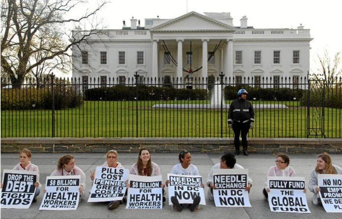 Protesters outside the White House in Washington DC