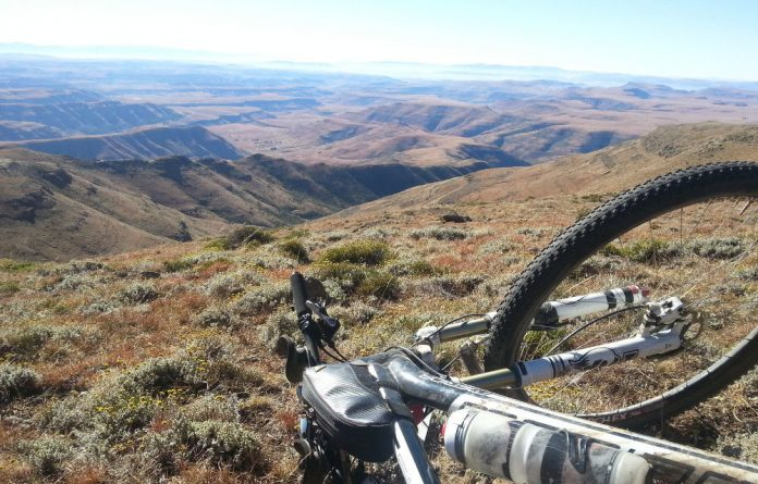 A bike with a view: the top of Lehana's Pass in the southern Drakensberg.