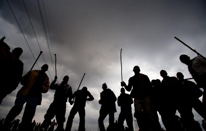 A file photograph of striking miners in Marikana.