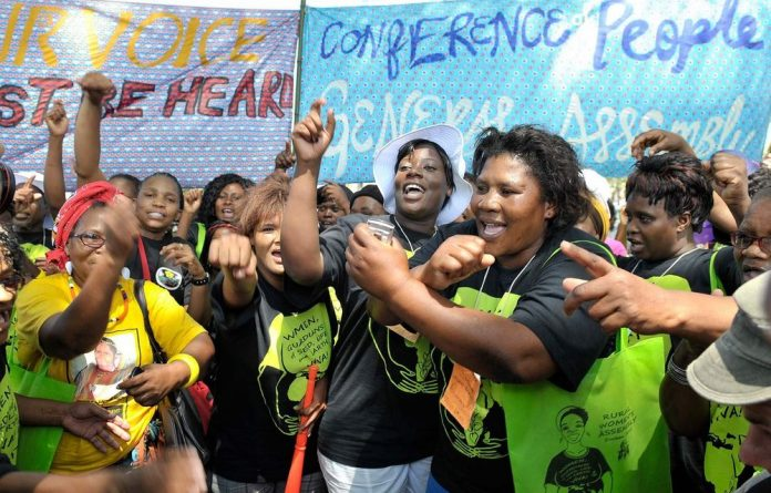 Protestors of the Rural Women Assembly participating in the march for climate change on December 3 2011 in Durban.