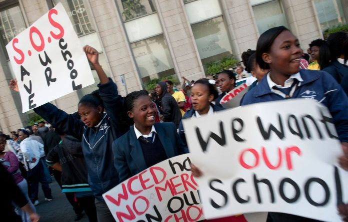 Protest opportunity: Pupils joined the ANC Youth League march in Cape Town this week.
