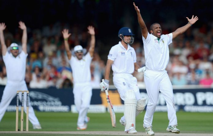 Vernon Philander celebrates dismissing Alastair Cook of England during day four of 3rd Investec Test match between England and South Africa at Lord's Cricket Ground.