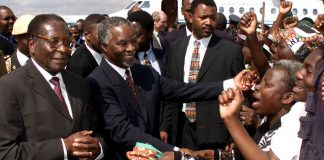 Zimbabwean President Robert Mugabe and then-president Thabo Mbeki in 2000.