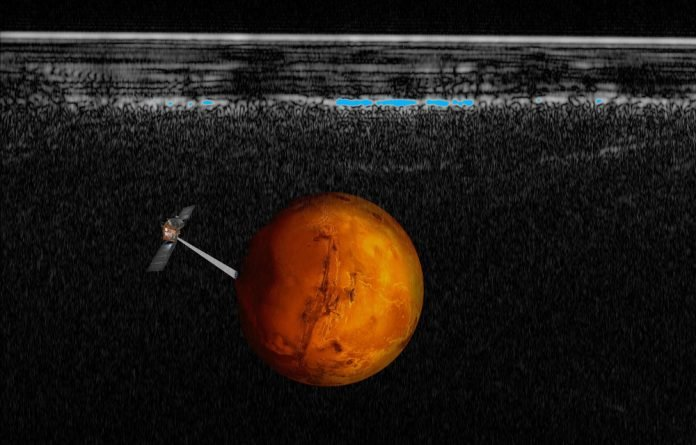 Under the radar: An artist's impression of Mars Express probing Mars for water.