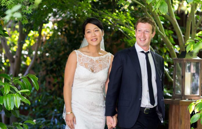 Facebook founder and CEO Mark Zuckerberg and Priscilla Chan at their wedding ceremony in Palo Alto on May 19.