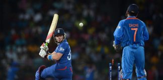 Jonathan Bairstow of England is bowled by Piyush Chawla of India during the ICC World Twenty20 2012 match between England and India.