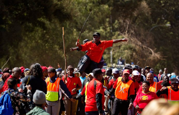 Striking municipal workers march to Salga offices on August 19 2011 in Johannesburg.