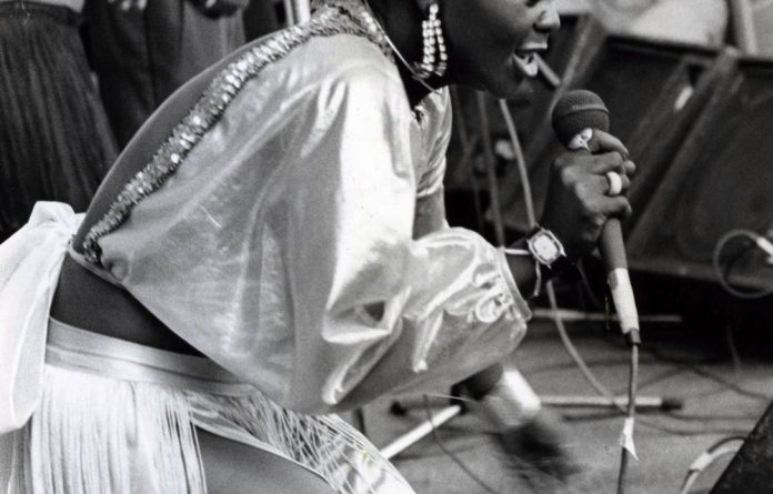 Brenda Fassie on stage in 1985.