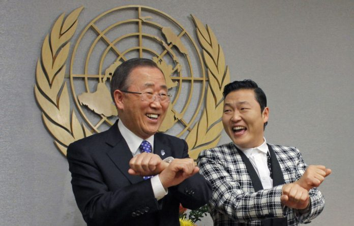 Ban Ki-Moon and Psy at the United Nations in New York.