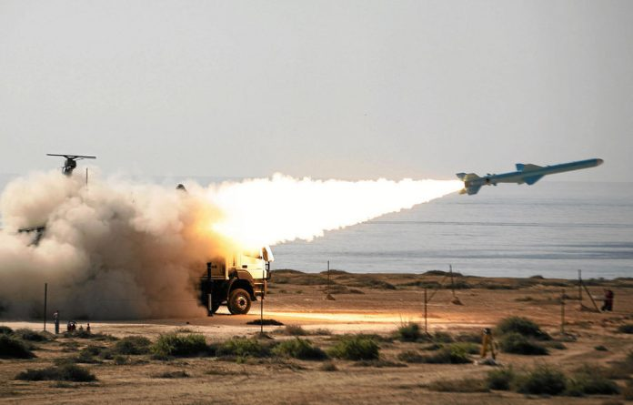 The Iranian 200km range Qader ground-to-sea missile is launched at the navy war games near the Strait of Hormuz in southern Iran early this year.