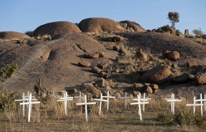 White crosses mark the location of the Marikana massacre.