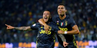 Juventus' Federico Bernardeschi celebrates scoring their second goal with Cristiano Ronaldo