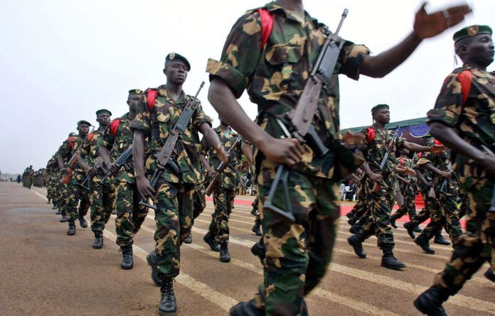 Soldiers from the Central African Republic parade in the capital Bangui.