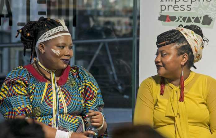 Telling stories: Vangile Gantsho and Danai Mupotsa in conversation at the launch of their books by Impepho Press in Braamfontein. Photo: Boipelo Khunou