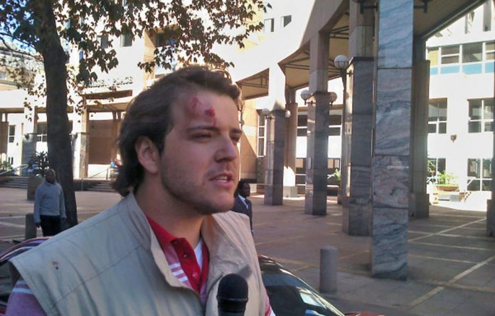 Mail & Guardian journalist Nickolaus Bauer was taken to hospital on Tuesday after being hit with a rock while at the march.