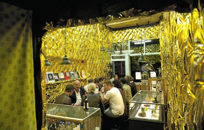 Gold foil: Designer Peet Pienaar helped to decorate the  pop-up space.