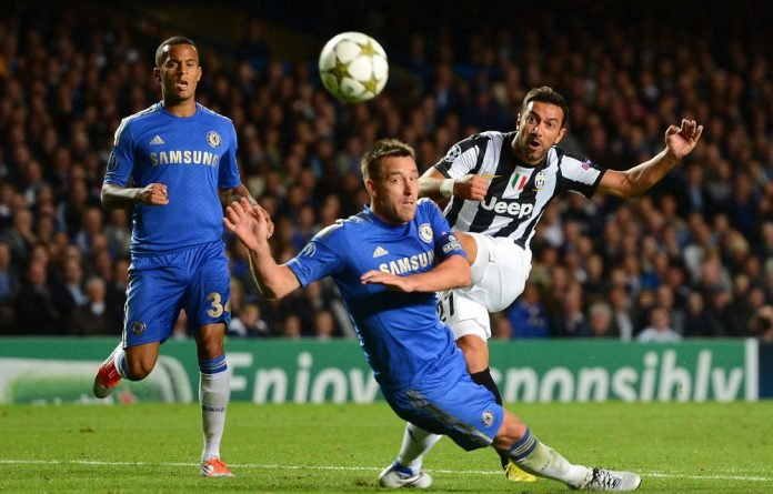 Fabio Quagliarella of Juventus takes a shot at goal during the Uefa Champions League match between Chelsea and Juventus.