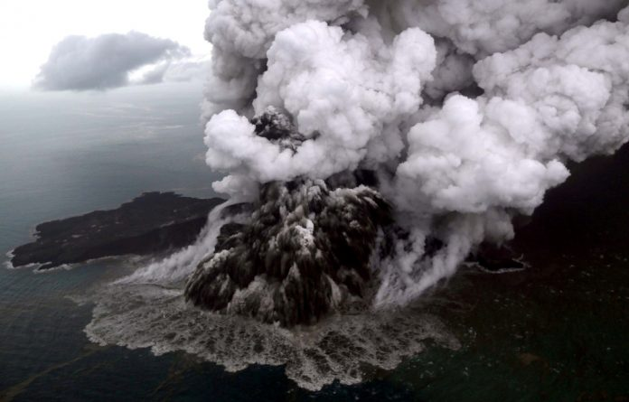An aerial view of Anak Krakatau volcano during an eruption at Sunda strait in South Lampung.