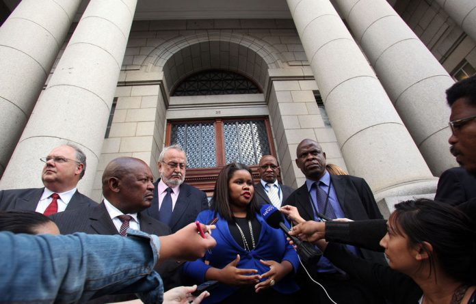 DA parliamentary leader Lindiwe Mazibuko outside the Cape Town High Court on November 20 2012.