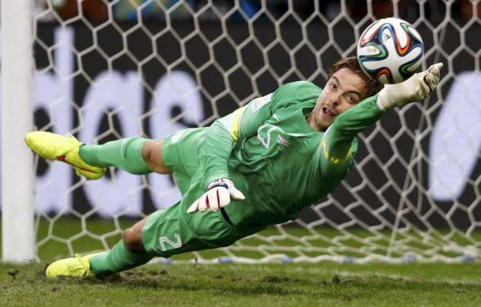 Tim Krul of the Netherlands saves the last penalty shot against Costa Rica at the 2014 World Cup quarterfinals at the Fonte Nova arena in Salvador on Saturday.