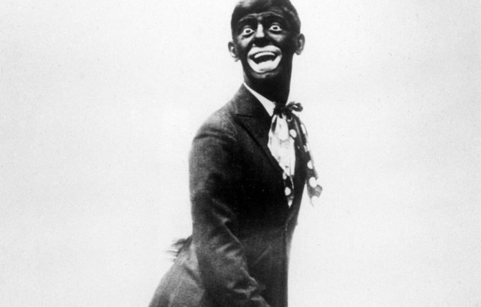 This 1920s image shows comedian Eddie Cantor wearing blackface while performing