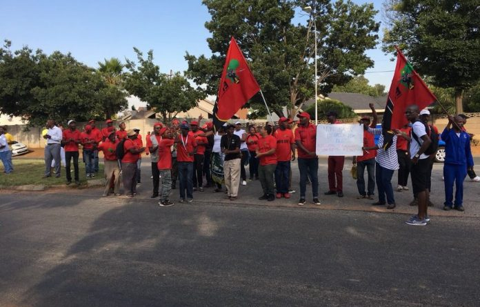 EFF members gathered outside Hoërskool Overvaal on Wednesday morning.