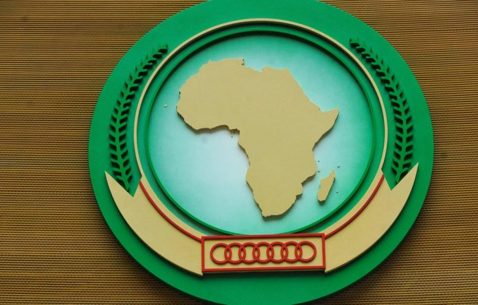 The African Union Commision's logo at its headquarters in Addis Ababa.