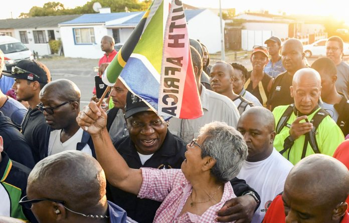 Walking the talk: Cyril Ramaphosa took his exercise in Gugulethu after his earlier walk in Sea Point.