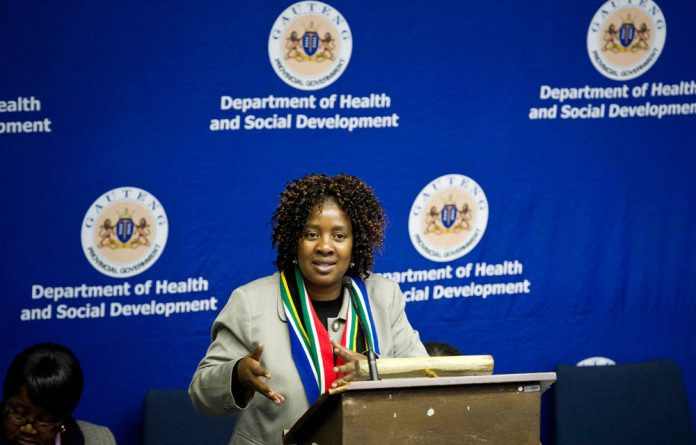 Gauteng Health and Social Development minister Ntombi Mekgwe.