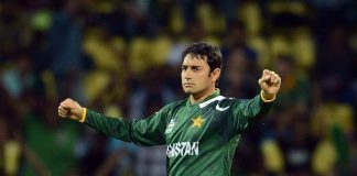 Pakistan bowler Saeed Ajmal celebrates the wicket of New Zealand cricketer Daniel Vettori during the ICC Twenty20 Cricket World Cup match between Pakistan and New Zealand.