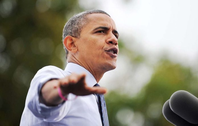 US President Barack Obama speaks during a campaign rally at the George Mason University in Fairfax