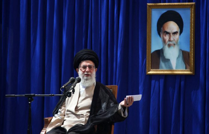 Iranian supreme leader Ayatollah Ali Khamenei delivers a speech just outside Tehran